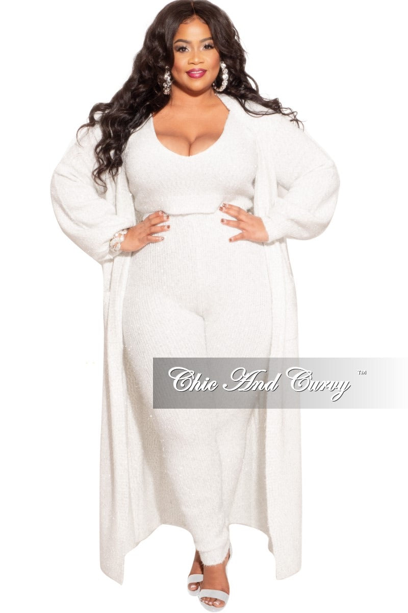 Final Sale Plus Size 3-Piece Lux Ivory with Silver Set