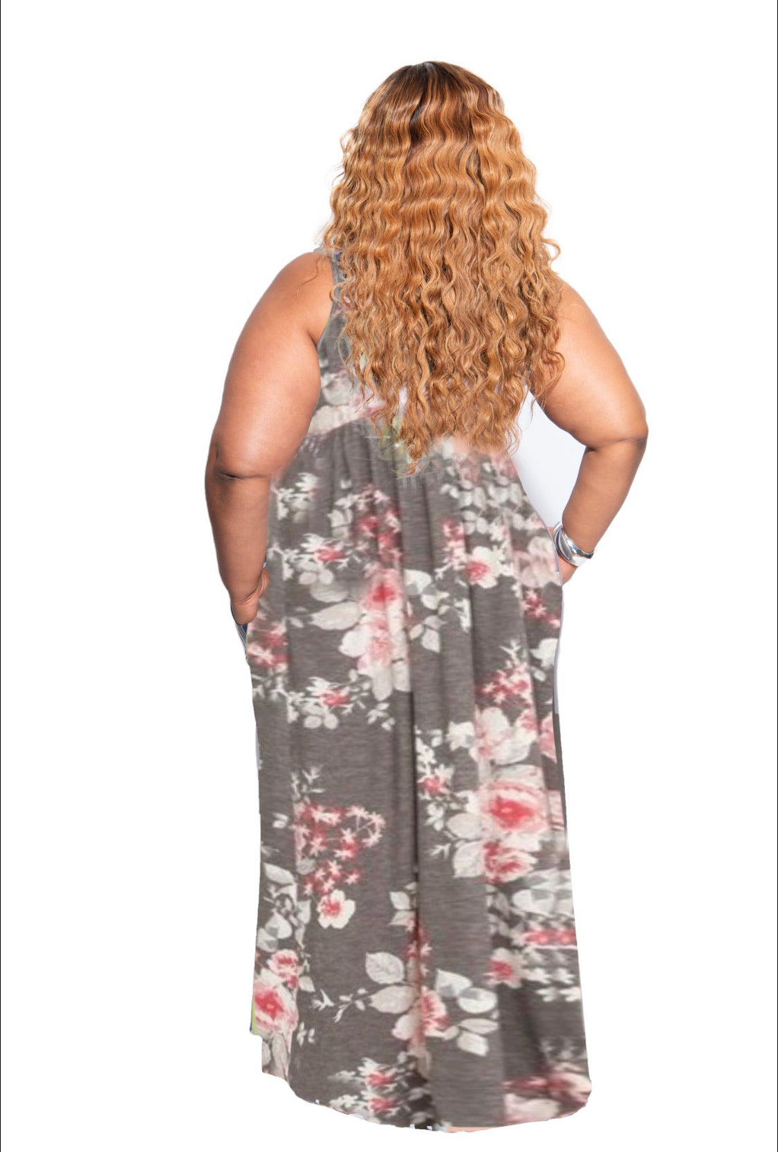 New Plus Size Tank Pocket Maxi Dress in Charcoal & Pink Floral Print