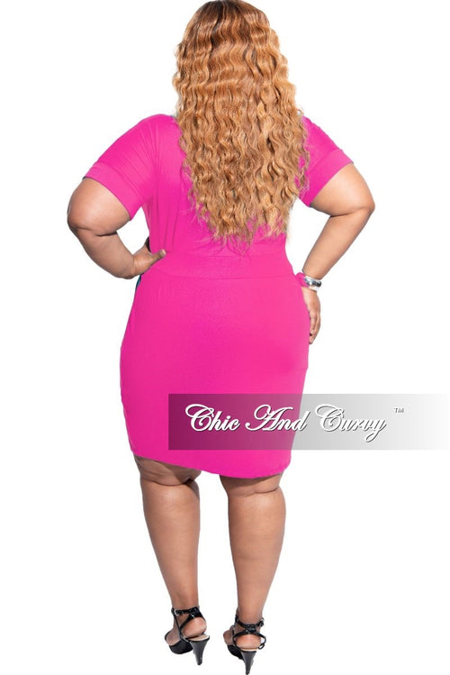 New Plus Size Rolled Sleeve Tie Dress in Hot Pink