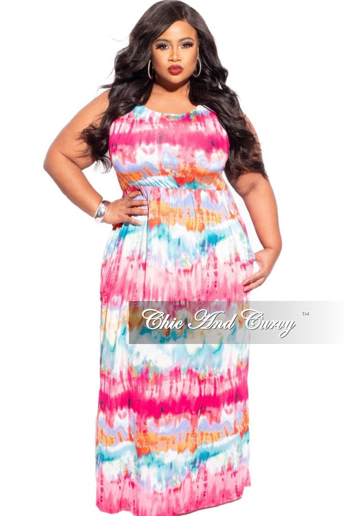 New Plus Size Sleeveless Dress in Fuchsia Tie Dye