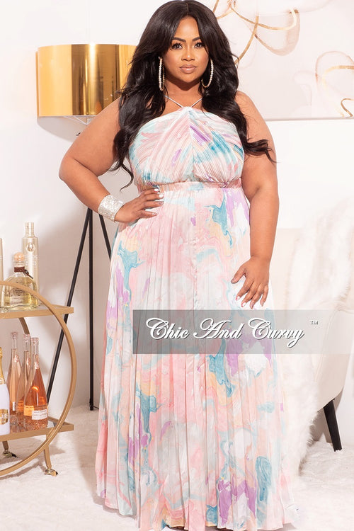 Final Sale Plus Size Satin Spaghetti Strap Halter Dress in Pastel Print
