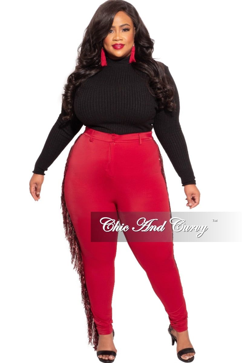 Final Sale Plus Size Burgundy High Waist Pants with Burgundy Sequin Fringe Trim