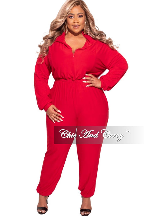 Final Sale Plus Size Parachute Jumpsuit in Red