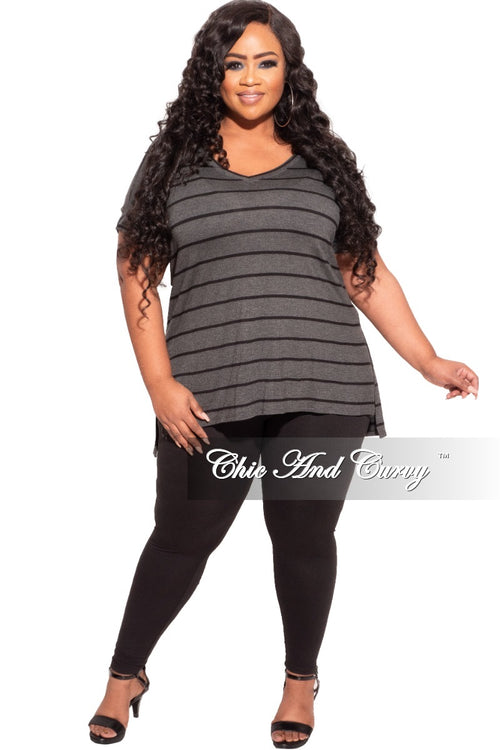 New Plus Size 2-Piece Striped Top and Solid Legging Set in Black and Grey Stripe