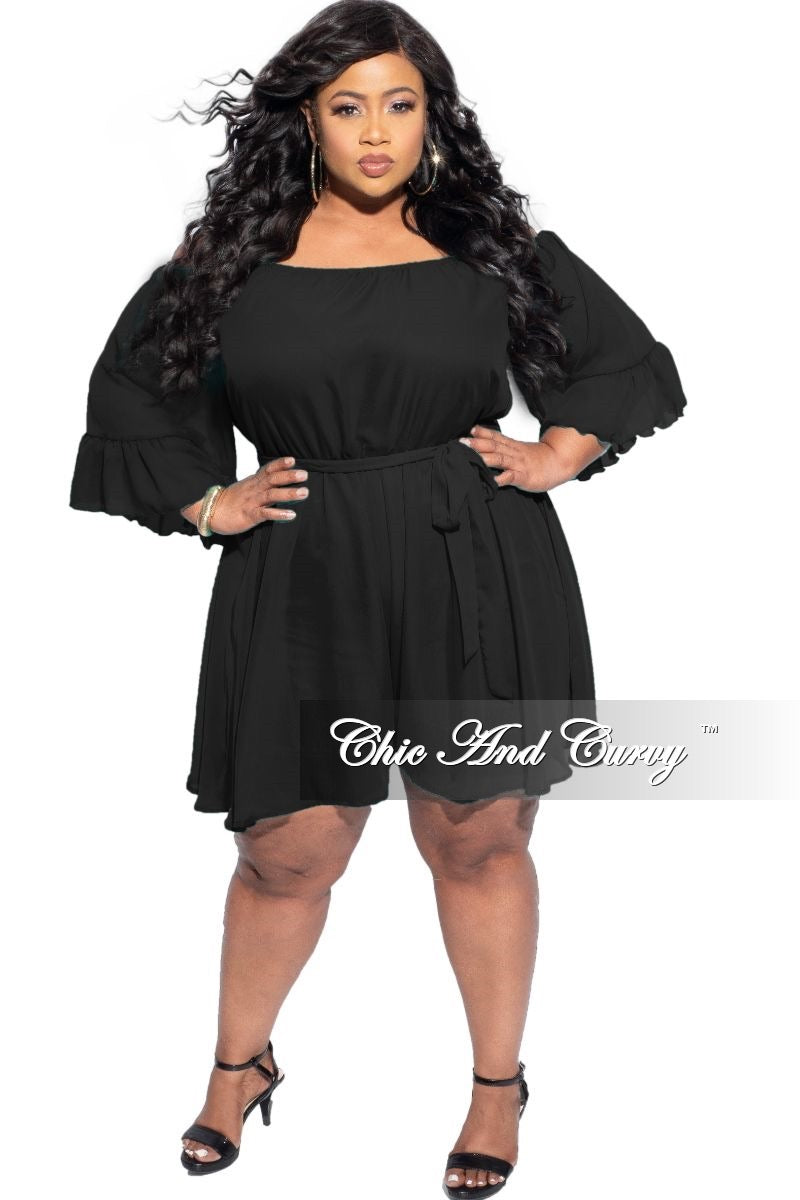 New Plus Size Chiffon Romper in Black