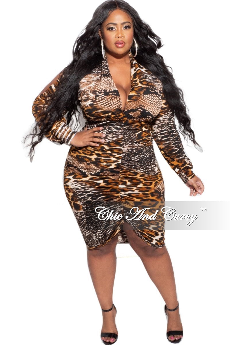 New Plus Size Deep V Neck Dress in Animal Print
