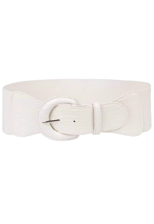 Final Sale Plus Size Elastic Belt with Front Snake Print in Off White