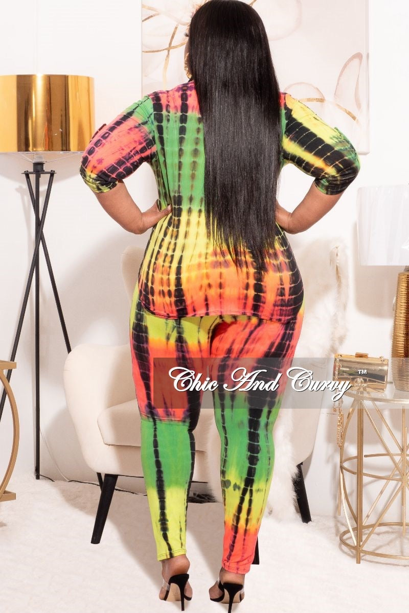*Final Sale Plus Size 2-Piece Collared Button Top and Pants Set in Multi-Color Neon Tie Dye