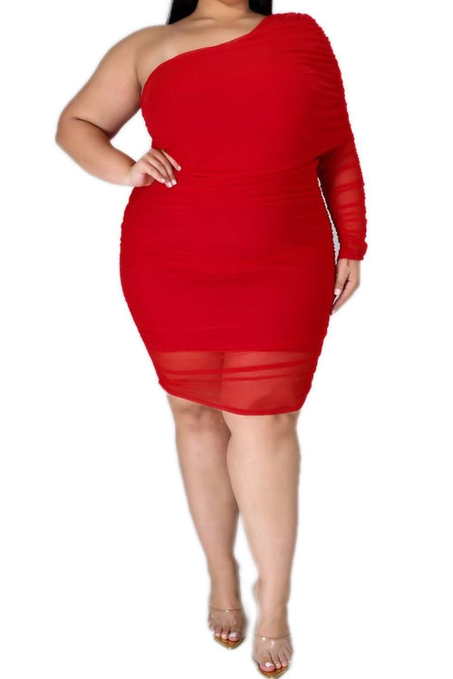 *Deal of the Day Final Sale Plus Size One Shoulder Dress In Red Sheer Overlay