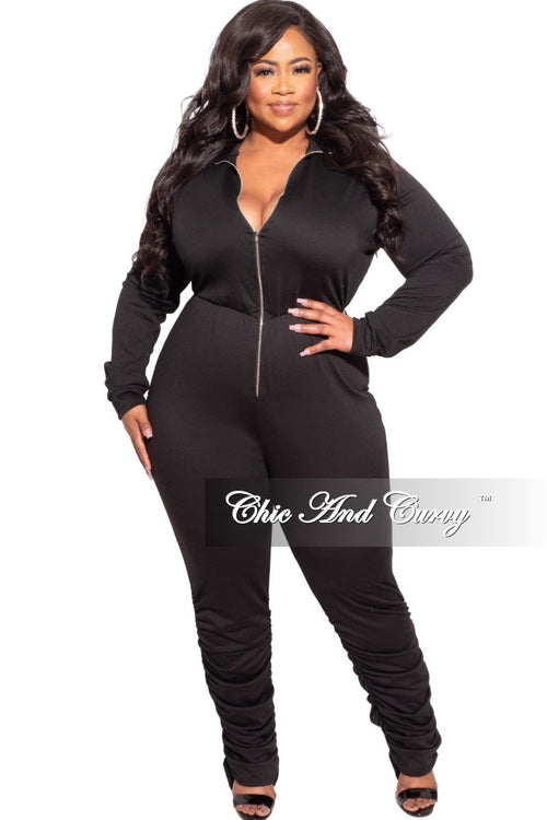 Final Sale Plus Size Jumpsuit with Ruched Ankles in Black