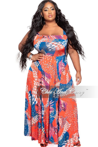 New Plus Size Faux Wrap Pocket Jumpsuit in Red Tropical Print