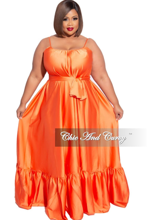 Final Sale Plus Size Spaghetti Strap Peasant Maxi Dress with Tie in Orange