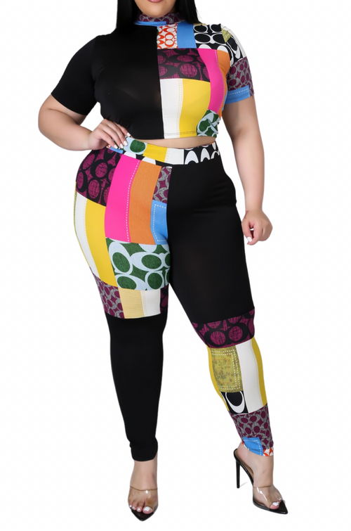 Final Sale Plus Size 2-pc Multi-Colorblock Print