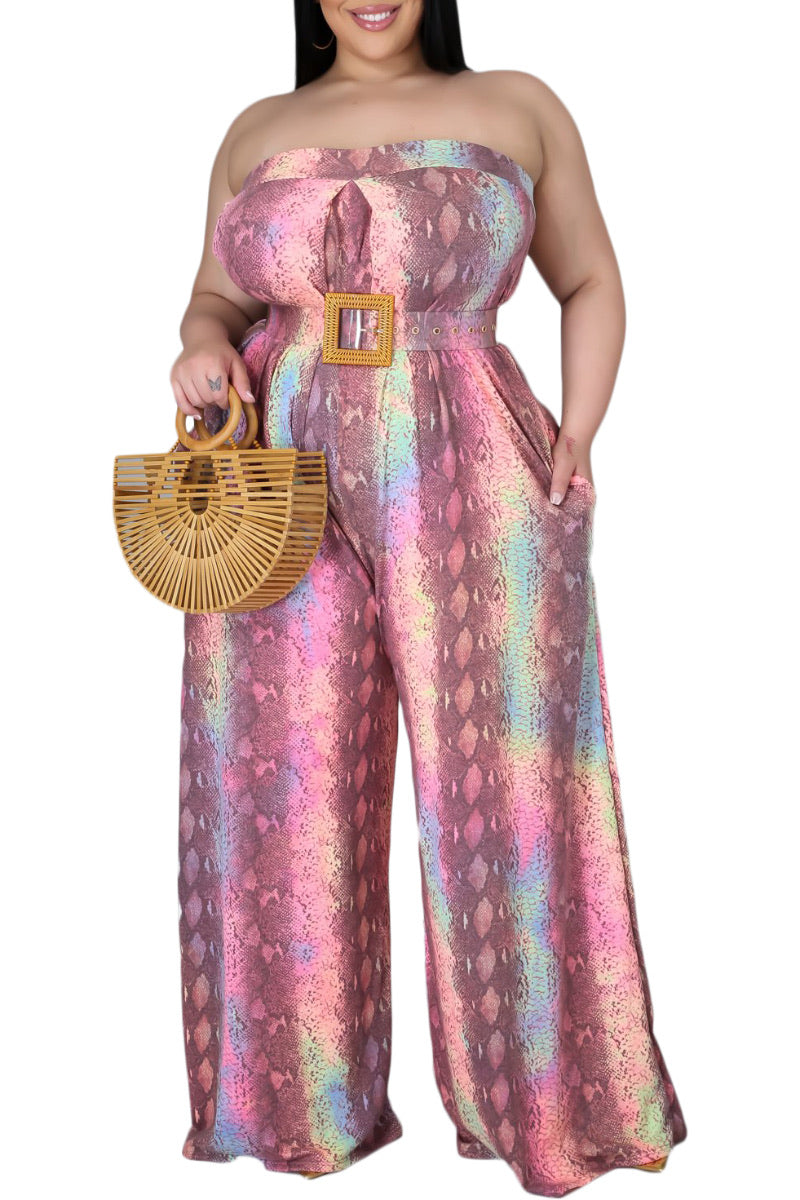 Final Sale Plus Size Strapless Wide Leg Jumpsuit in Multi-Color Print