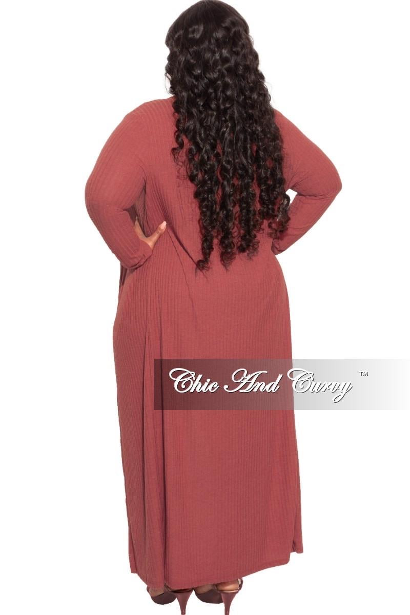 *Final Sale Plus Size 3-pc (Duster, Crop Tank Top & Pants) Ribbed Set in Cranberry