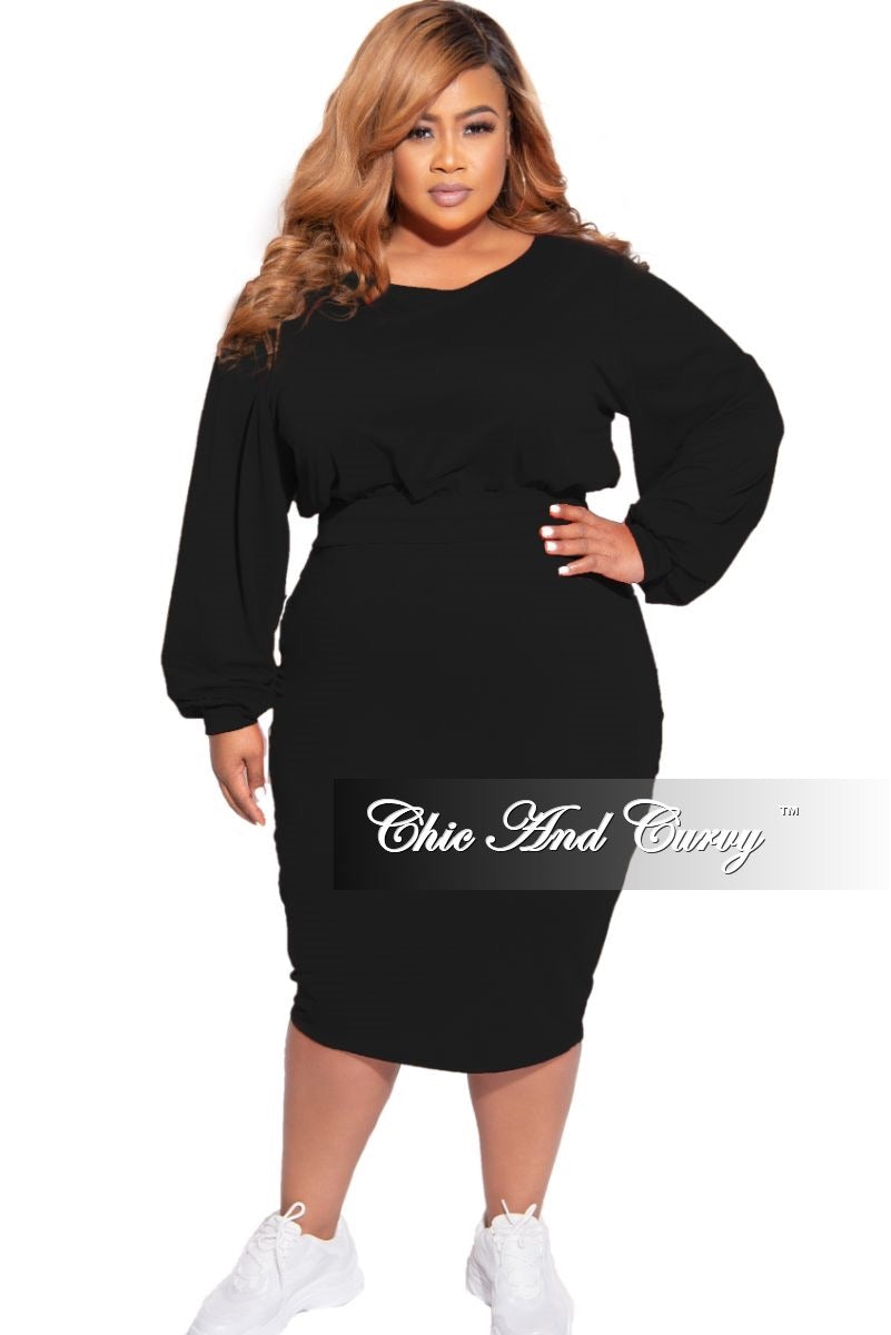 New Plus Size Exclusive 2-Piece Set Long Sleeve Top and High Waist Pencil Skirt in Black
