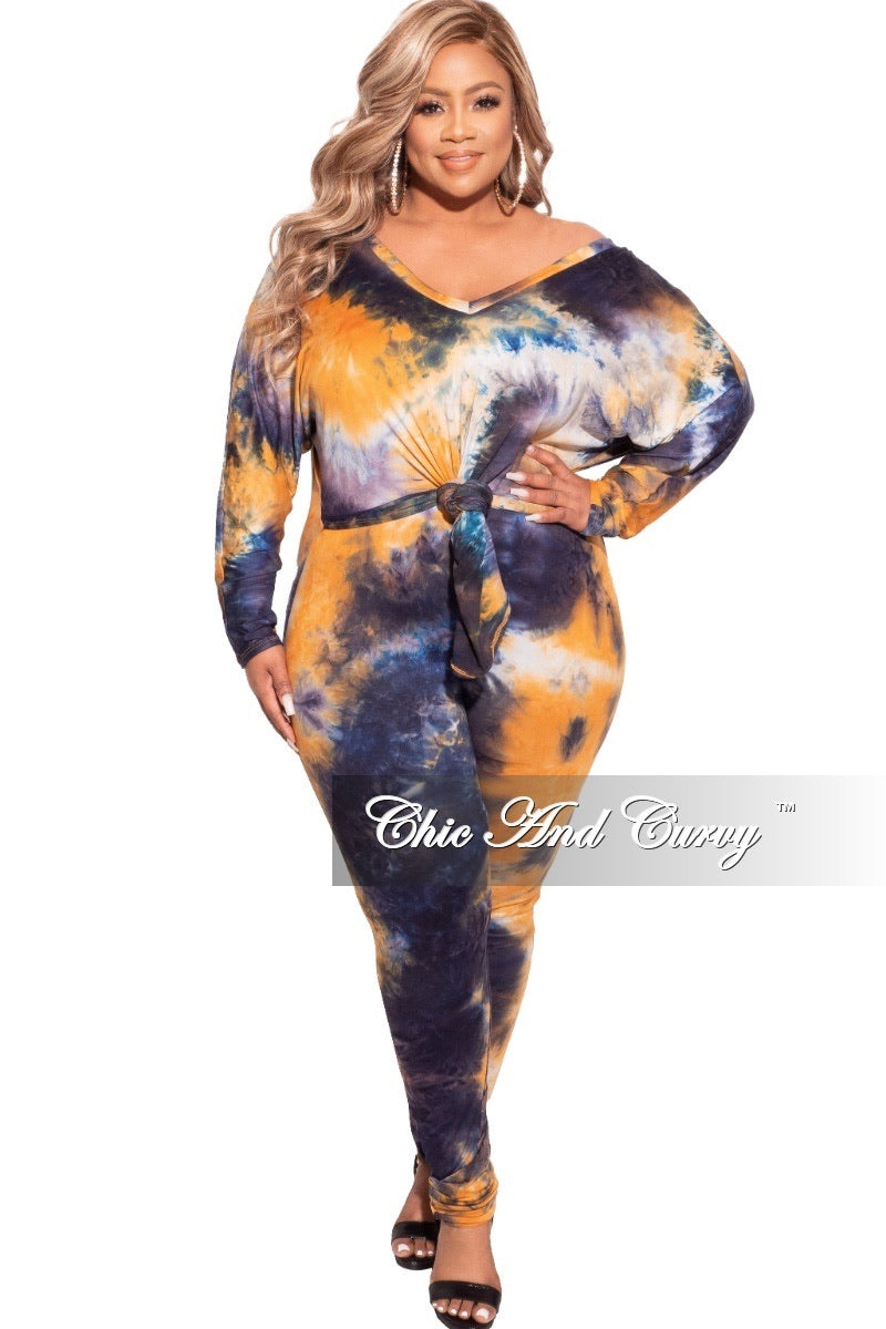 *Final Sale Plus Size 2-pc Pants Set in Orange / Navy Tie Dye