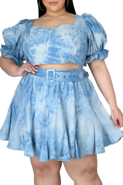 Final Sale Plus Size 2-PC Denim Print Skirt Set