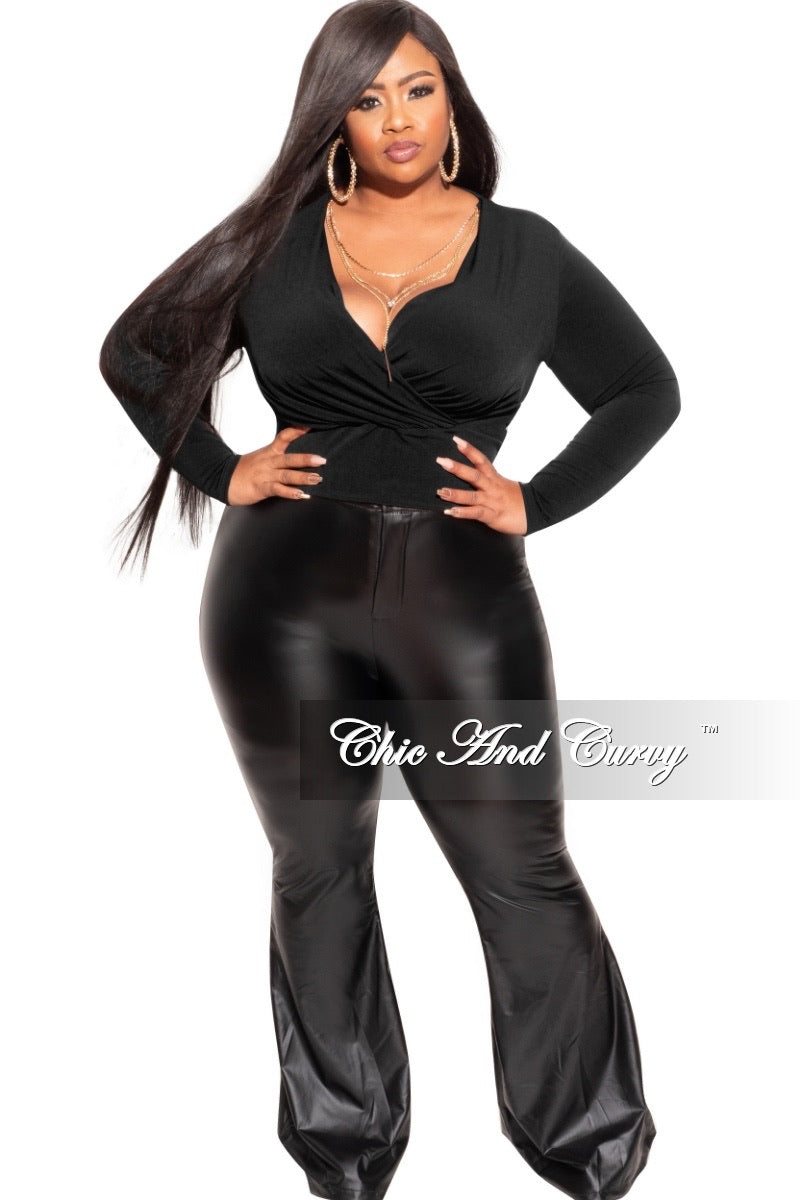 *Final Sale Plus Size Faux Wrap Top in Black