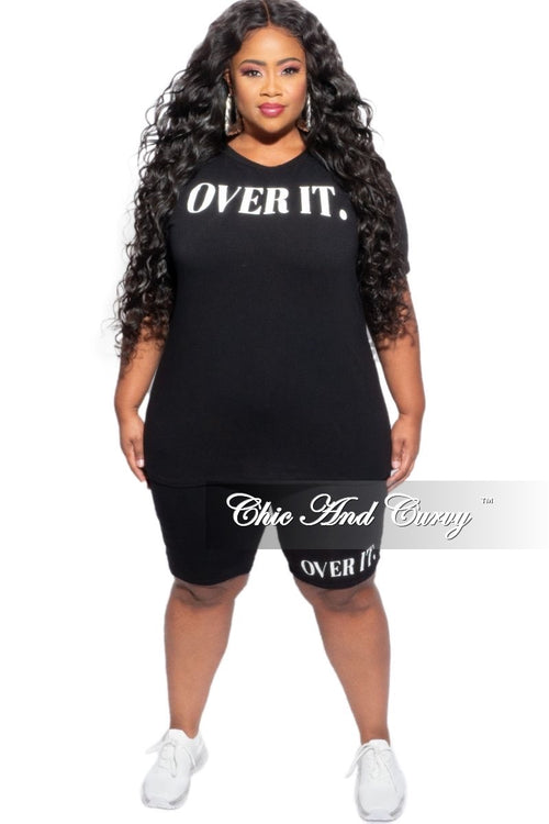 New Plus Size 2-Piece Over It (Top & Shorts) Set in Black & White