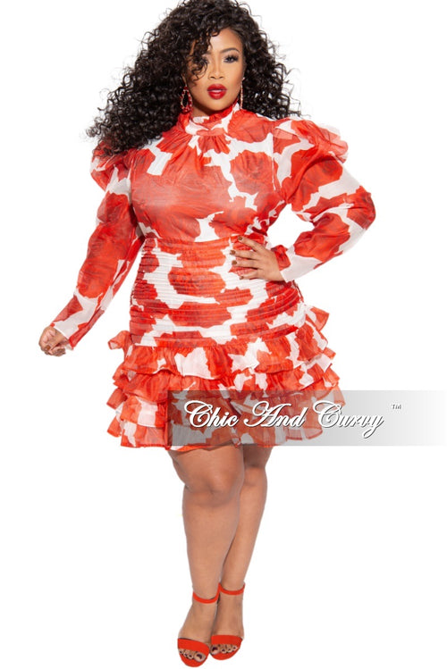 Final Sale Plus Size Sheer Mini Dress in Red & White Rose Print