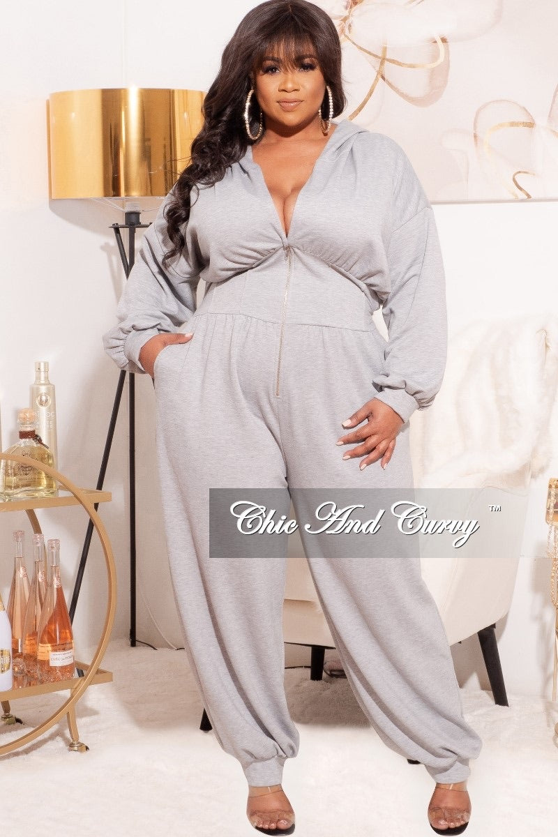 Final Sale Plus Size Oversized Harem Jumpsuit in Grey