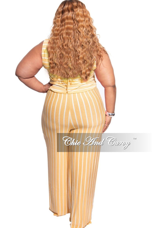 New Plus Size Sleeveless Pocket Tie Jumpsuit in Mustard with Ivory Stripes