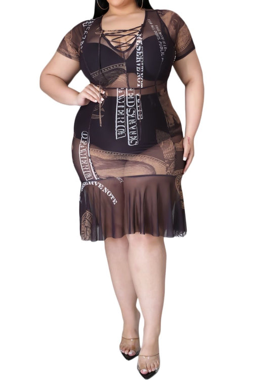 Final Sale Plus Size Lace Up Black Money Print Sheer Mesh Dress