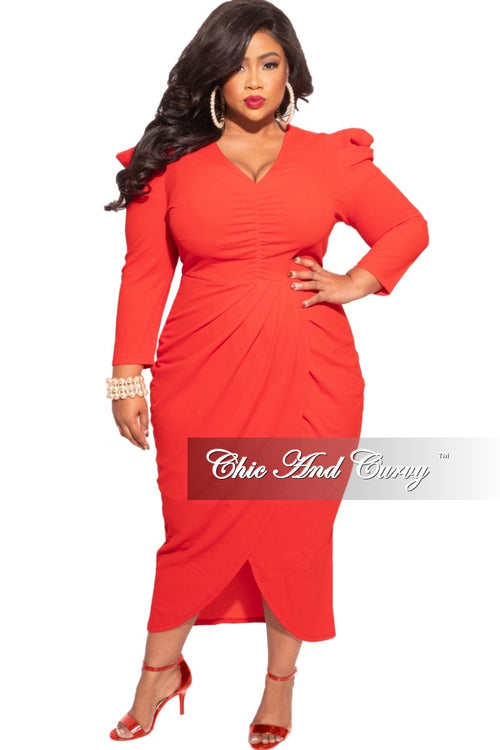*Final Sale Plus Size Ruched Centered Overlay Tulip Dress in Tomato Red