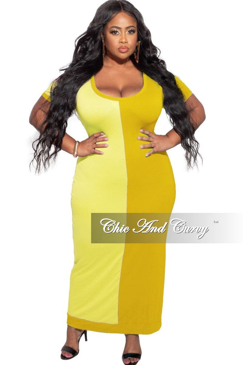 Final Sale Plus Size BodyCon Dress Midi Length in Yellow & Mustard
