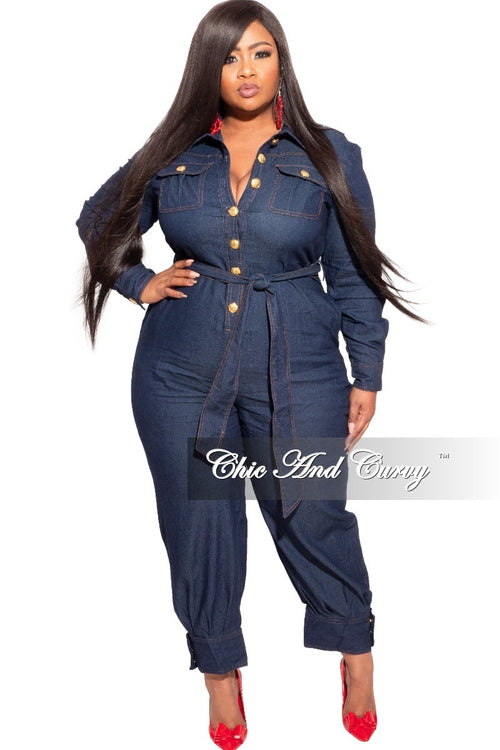 Final Sale Plus Size Dark Denim Jumpsuit