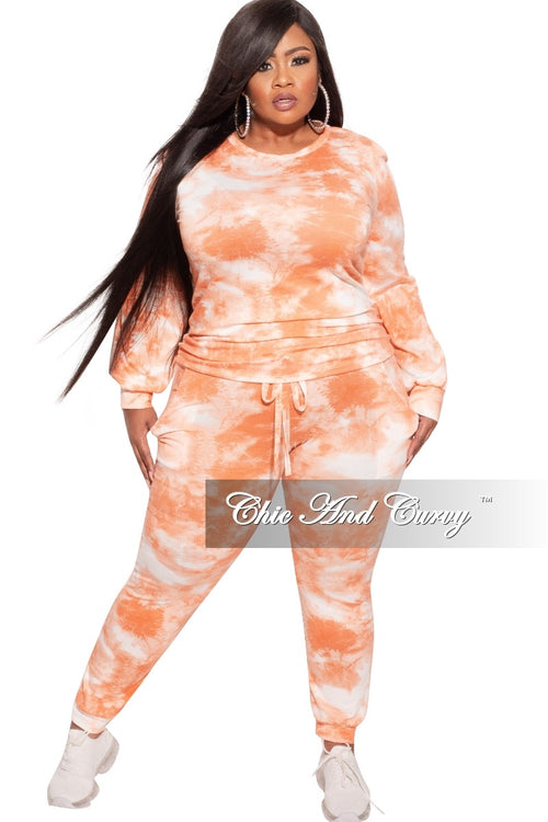 *Final Sale Plus Size Jogger Set in Orange Rust Tie Dye