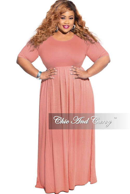 New Plus Size Pocket Maxi Dress in Rose Pink