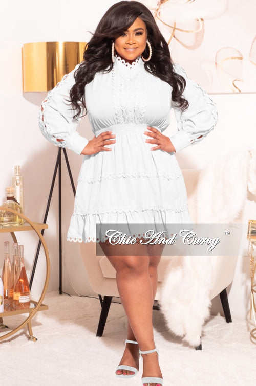 Final Sale Plus Size Babydoll Dress in Off White
