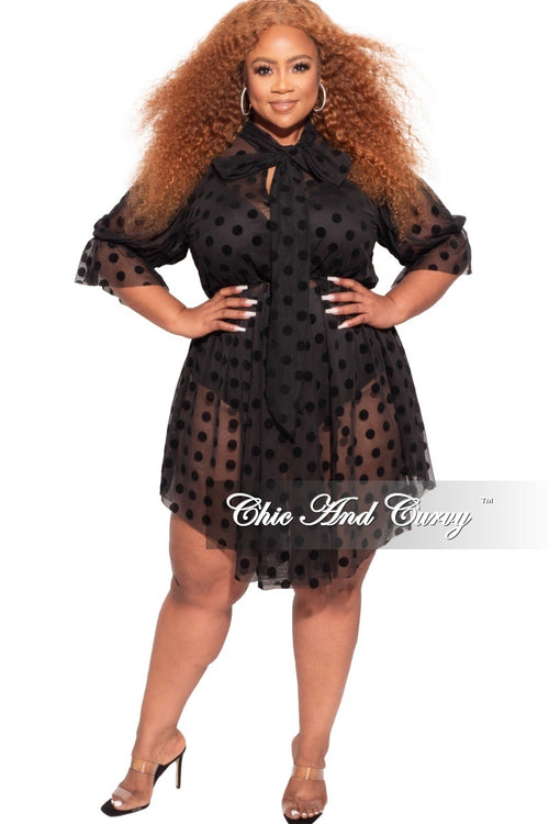 *Final Sale Plus Size Sheer Mesh Bow Tie Polka Dot Dress in Black