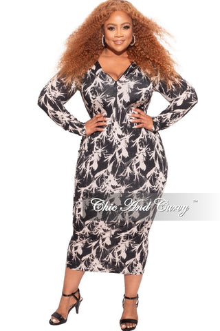 *Final Sale Plus Size Graphic Jumpsuit in Black and White Print