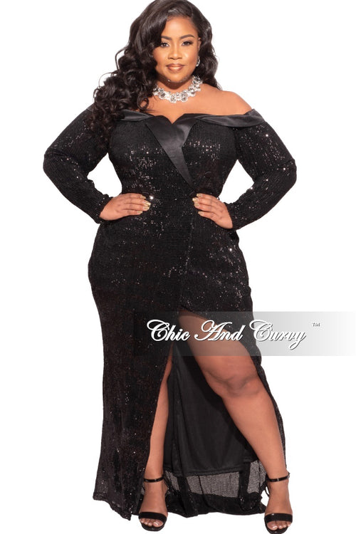 Final Sale Plus Size Off The Shoulder Sequin Gown in Black
