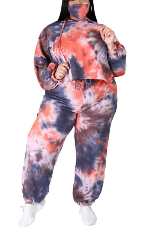 New Plus Size Long Sleeve Hooded Jogging Set in Navy & Rust Tie Dye