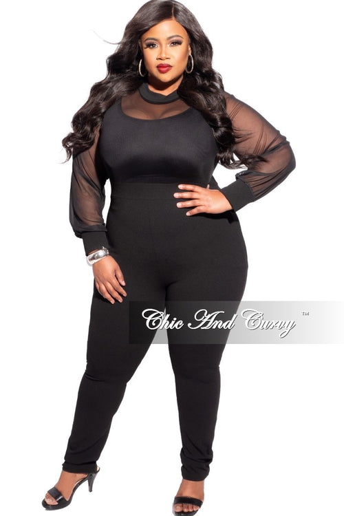 Final Sale Plus Size Mesh Top Jumpsuit in Black