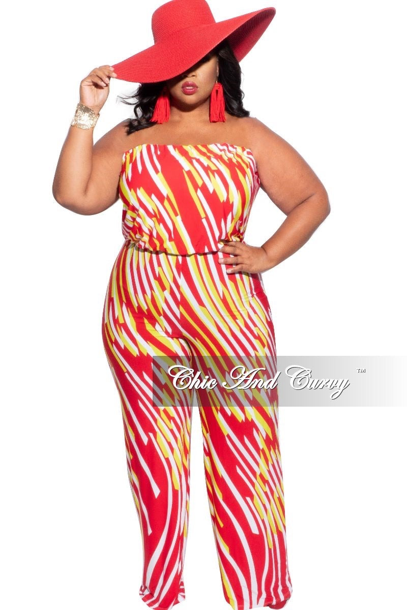 New Sale Plus Size Strapless Tube Jumpsuit in Red & Neon Green Multi-Color Print