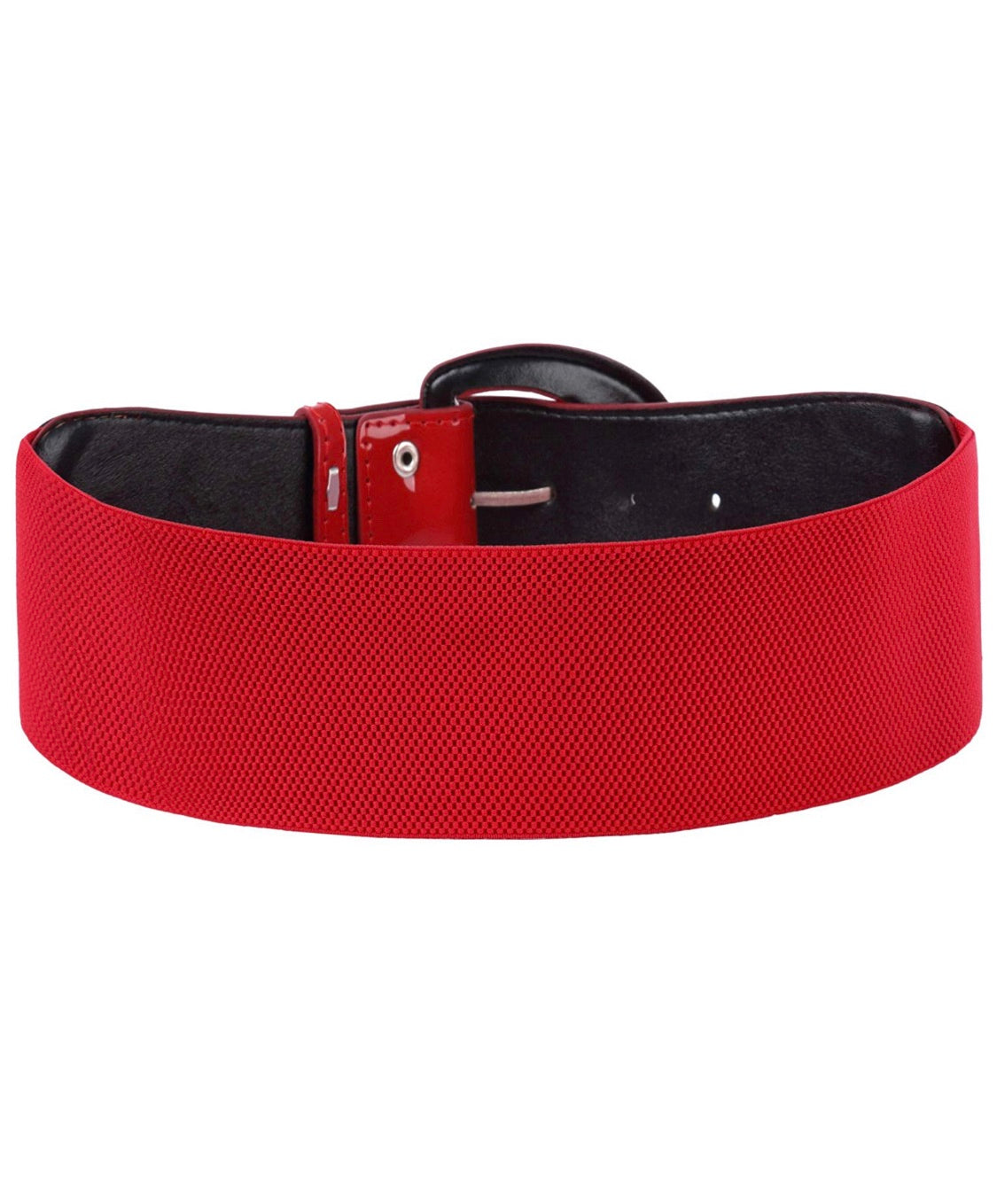 Final Sale Plus Size Belt Elastic Red Band and Red Buckle