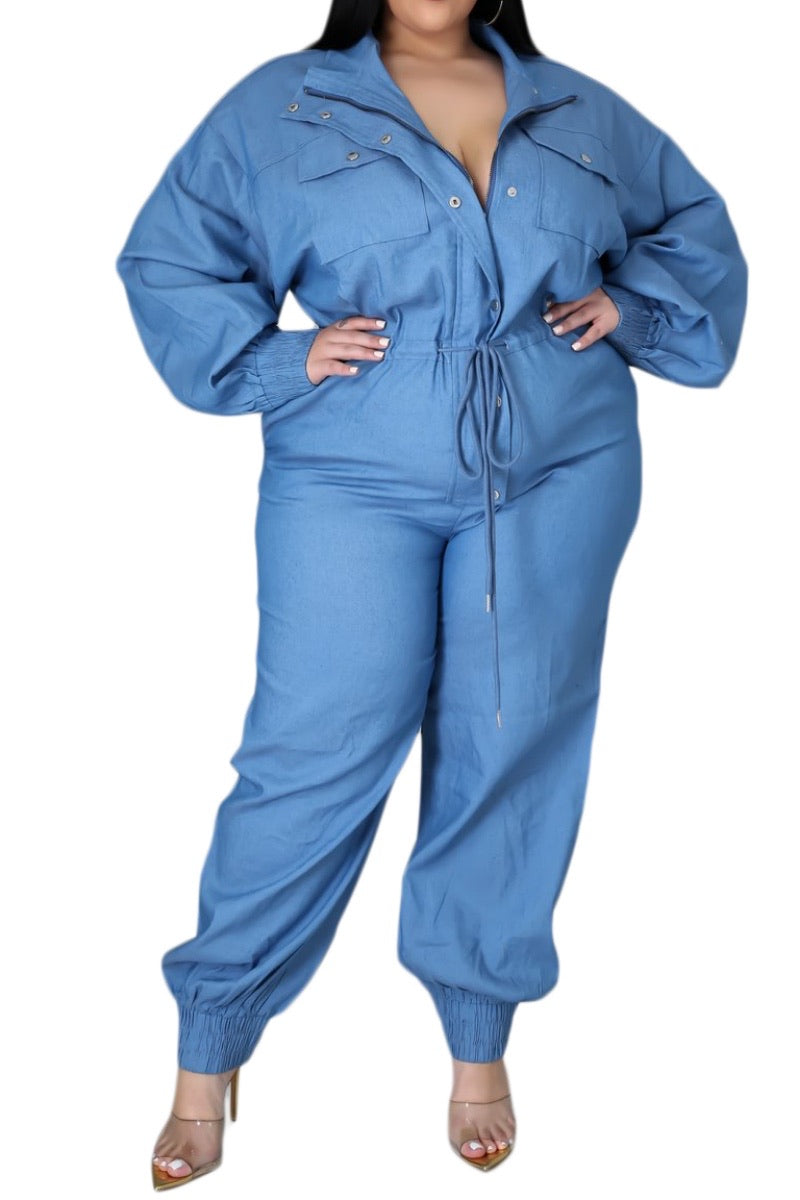 *Final Sale Plus Size Oversized Light Denim Cargo Jumpsuit