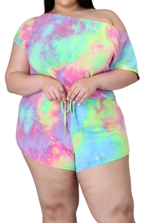 Final Sale Plus Size Romper in Rainbow Sherbet Tie Dye Print