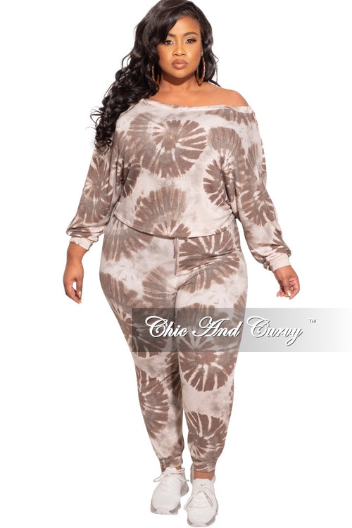 New Plus Size 2pc (Top & Jogger) Set In Ivory & Brown Tie Dye