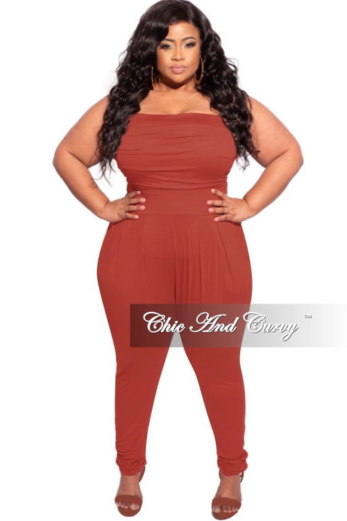 New Plus Size Tube Top Jumpsuit in Brick