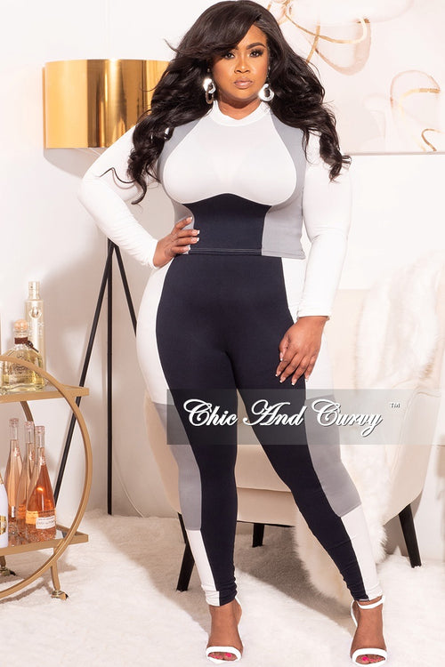 Final Sale Plus Size 2pc Contouring Set in Navy, White and Grey