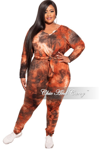 Final Sale Plus Size Long Sleeve Hooded Jogging Set in Navy & Rust Tie Dye