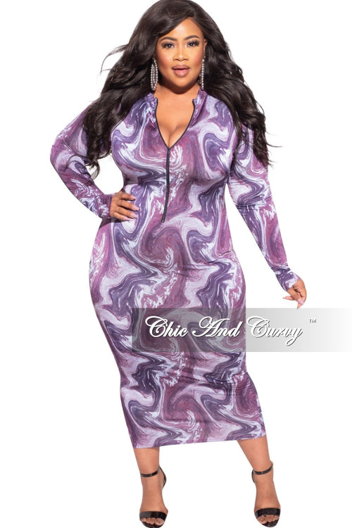 Final Sale Plus Size Bodycon Dress in Purple Abstract Print