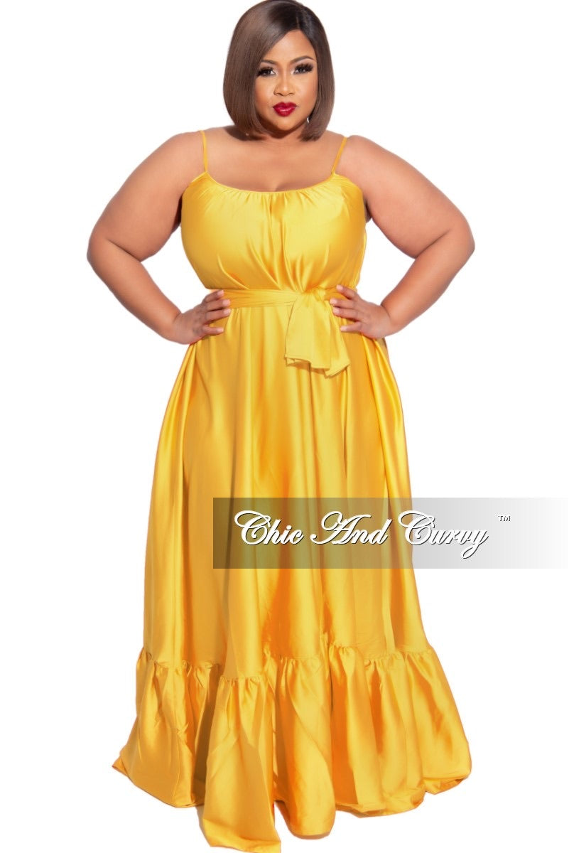 Final Sale Plus Size Spaghetti Strap Peasant Maxi Dress with Tie in Mustard