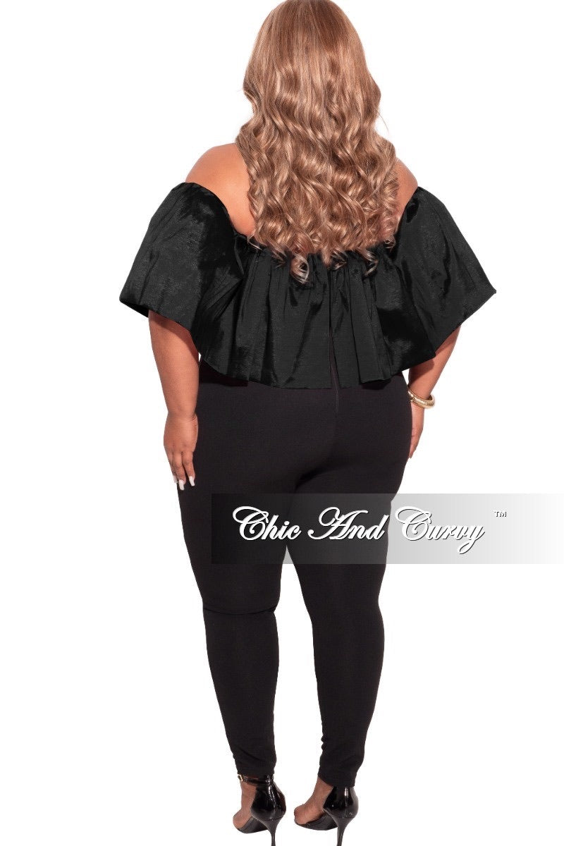 Final Sale Plus Size Off The Shoulder Jumpsuit in Black